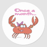 once a month crabby crab girl round sticker