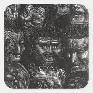 Once caras grotescas calcomanias cuadradas