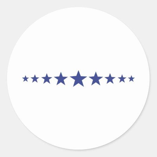 once estrellas azules pegatina redonda