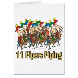 once gaiteros que instalan tubos el 11mo día de tarjeta de felicitación