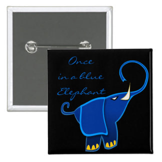 Once in a blue Elephant 2 Inch Square Button