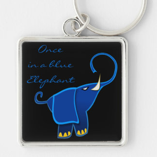 Once in a blue Elephant Silver-Colored Square Keychain