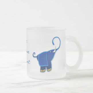 Once in a blue Elephant 10 Oz Frosted Glass Coffee Mug