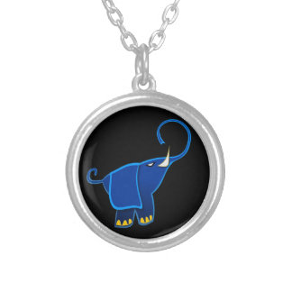 Once in a blue Elephant Round Pendant Necklace
