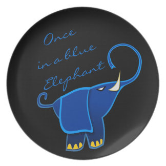 Once in a blue Elephant Party Plate