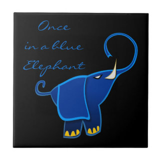 Once in a blue Elephant Small Square Tile
