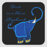 Once in a blue Elephant Square Stickers