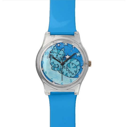 Once in a Blue Moon Kitty Cat with Numbers Wrist Watch
