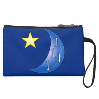 Once in a Blue Moon Suede Wristlet