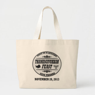 Once in a Lifetime Thanksgivukkah Large Tote Bag