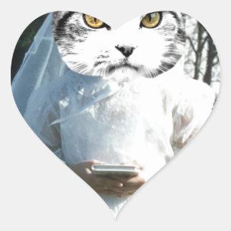 Once Kitten Now Cat Heart Sticker