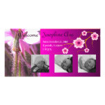 Once Upon a Garden, Baby Announcement ~ Pink Photo Card Template