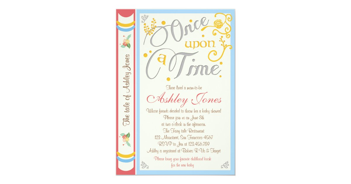 Once Upon A Time Baby Shower Invitation Fairy Tale   Zazzle.com