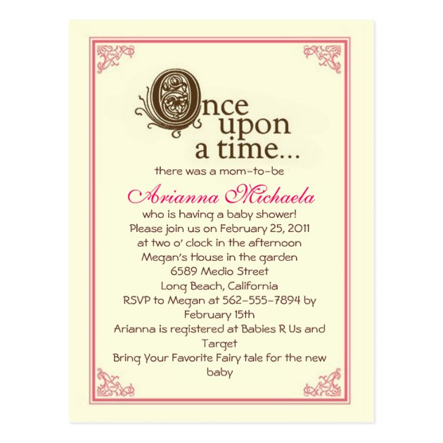 Once upon a time... Baby Shower Invitation Postcard | Zazzle