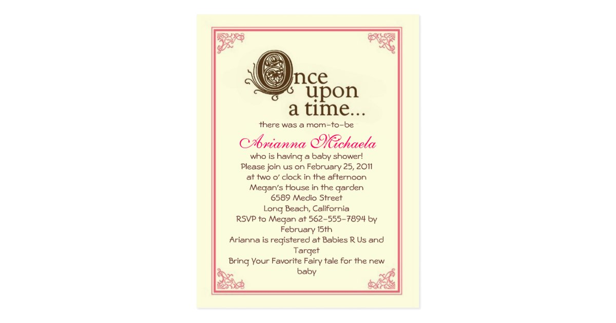Once upon a time... Baby Shower Invitation Postcard | Zazzle.com