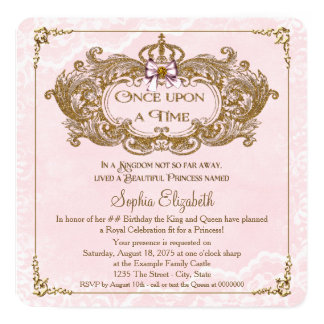 Once Upon a Time Girls Princess Birthday Party Invitation