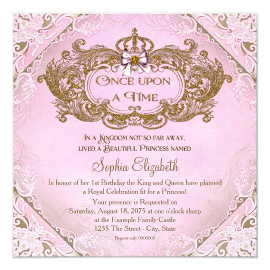 Once Upon a Time Princess 1st Birthday Card – 1st Birthday Princess Invitation