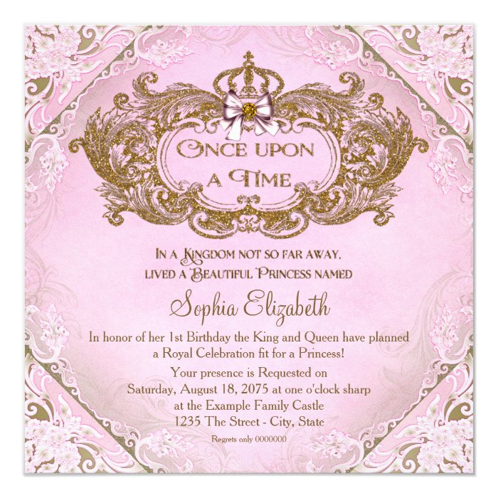 once upon a time princess 1st birthday card zazzle. Black Bedroom Furniture Sets. Home Design Ideas