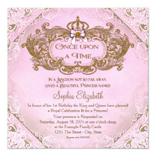 Once Upon A Time Princess 1st Birthday Invitation