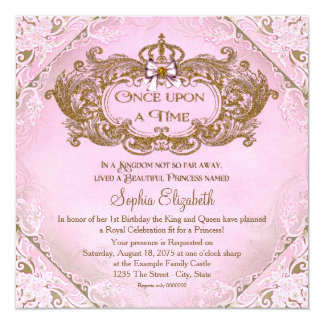 Once Upon a Time Princess 1st Birthday 5.25x5.25 Square Paper Invitation Card