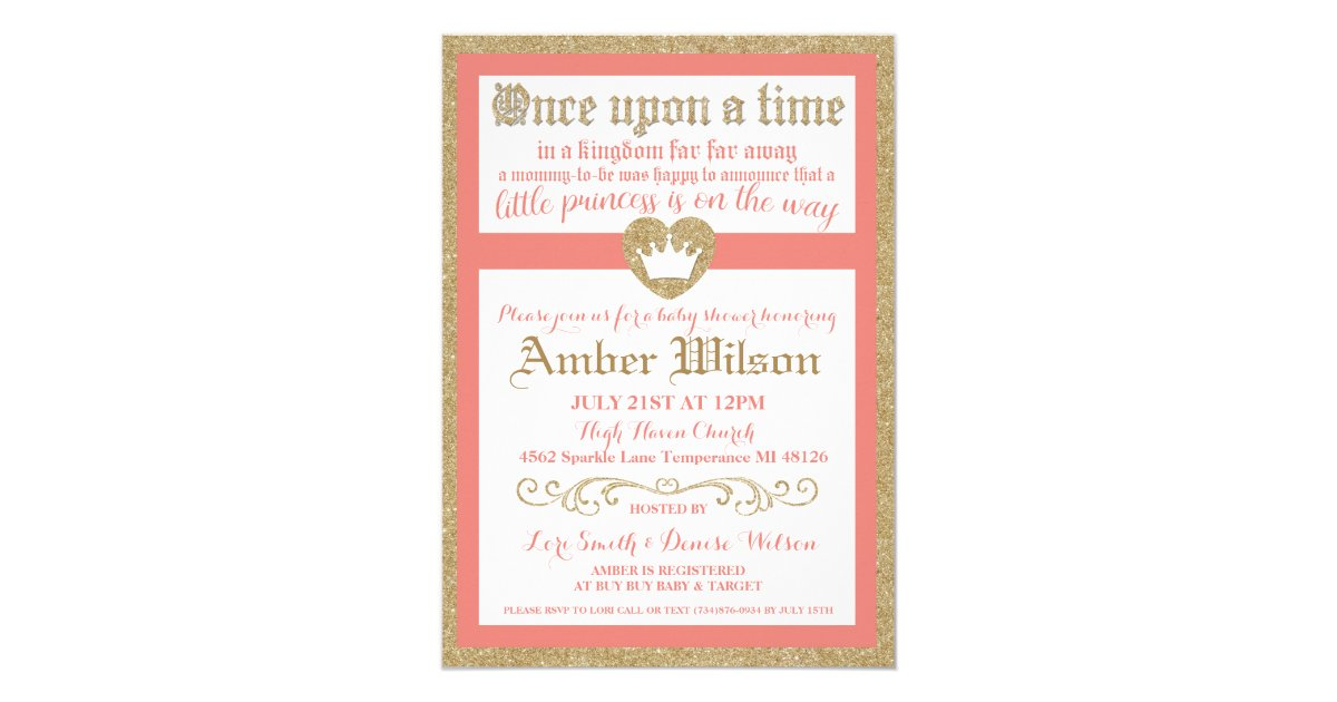 once upon a time princess baby shower invitation zazzle