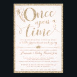"Once Upon A Time Princess Baby Shower Invitation<br><div class=""desc"">These Once Upon A Time Princess Baby Shower Invitations feature a blush background and faux gold glitter to add a little glam to your shower! The editable text and background colors are customizable when you choose to &quot;customize more&quot;.</div>"