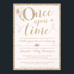 """Once Upon A Time Princess Baby Shower Invitation<br><div class=""""desc"""">These Once Upon A Time Princess Baby Shower Invitations feature a blush background and faux gold glitter to add a little glam to your shower! The editable text and background colors are customizable when you choose to &quot;customize more&quot;.</div>"""