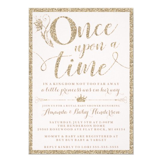 Once Upon A Time Princess Baby Shower Invitation Zazzlecom