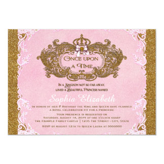 Once Upon a Time Princess Birthday 5x7 Paper Invitation Card