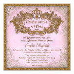 "Once Upon a Time Princess Birthday 5.25"" Square Invitation Card"
