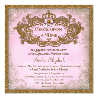Once Upon a Time Princess Birthday 5.25x5.25 Square Paper Invitation Card