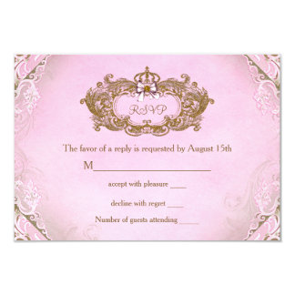 Once Upon a Time Princess Birthday RSVP 3.5x5 Paper Invitation Card