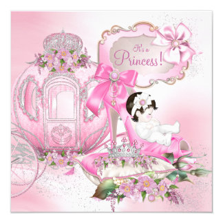Once Upon a Time Princess Pink Baby Shower 5.25x5.25 Square Paper Invitation Card