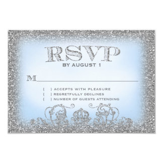 Once Upon a Time Silver Blue RSVP Card