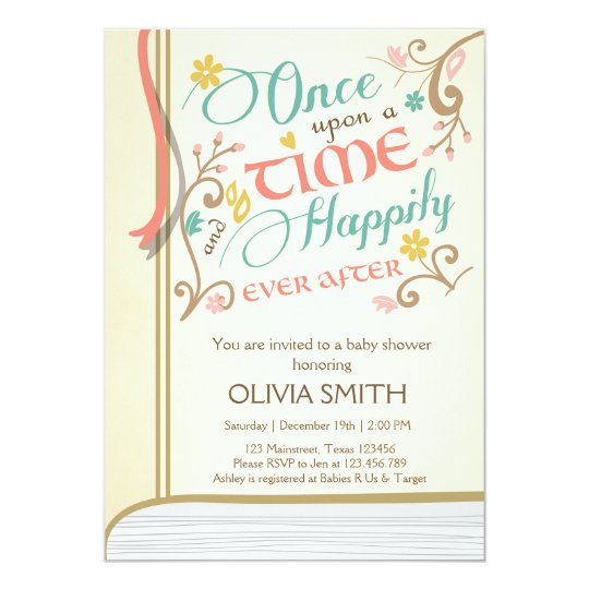 once upon a time storybook baby shower invitation | zazzle, Baby shower invitations