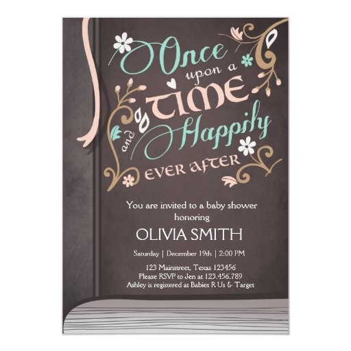 once upon a time storybook baby shower invitation zazzle