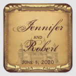 Once Upon a Time Wedding Envelope Seal Square Sticker