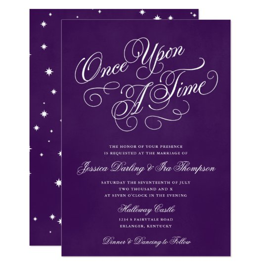Once Upon A Time Wedding Invitations Royal Purple | Zazzle.com