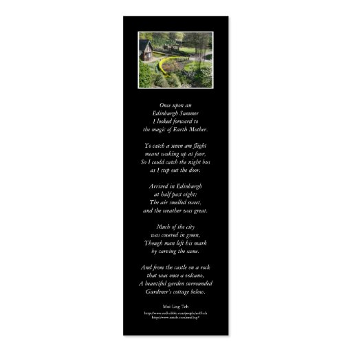 'Once upon an Edinburgh Summer' poetry bookmark Business Card Template
