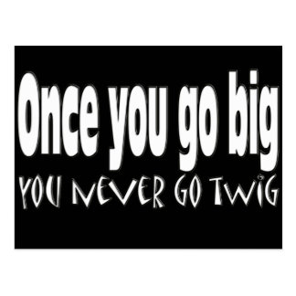 Once you go big, you never go twig postcard