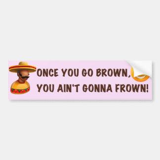 Once You Go Brown Pink Bumper Sticker Car Bumper Sticker