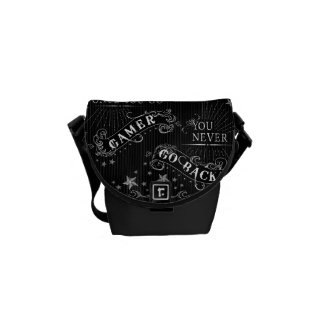 Once You Go Gamer You Never Go Back white on black Courier Bag