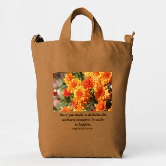 Once You Make A Decision Orange Flowers Duck Bag