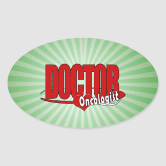 ONCOLOGIST LOGO BIG RED DOCTOR OVAL STICKER
