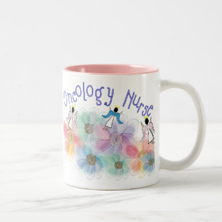 Oncology Nurse Whispy Angels Flowers Design Coffee Mug