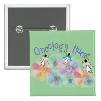 Oncology Nurse Whispy Angels & Flowers Design Pinback Button