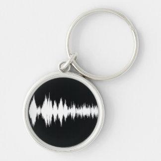 onda audio llavero redondo plateado