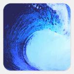 onda azul del estilo fresco de la resaca calcomanía cuadradas personalizadas