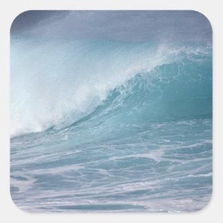 Onda azul que se estrella, Maui, Hawaii, los Pegatina Cuadrada