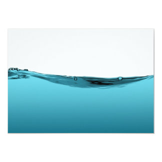 """Onda de agua azul invitación 5"""" x 7"""""""